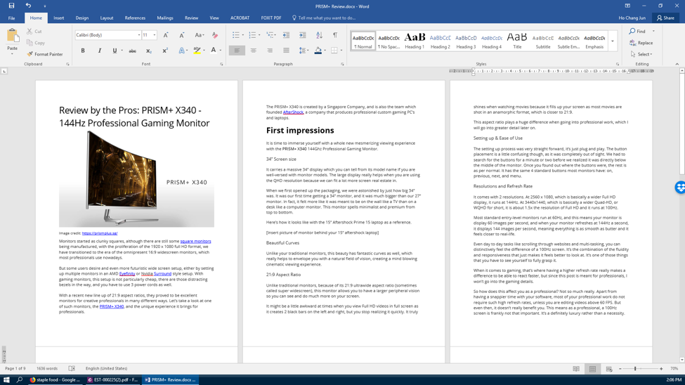 word document screen example 2